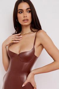 Tia Cocoa Latex Bustier Bodysuit