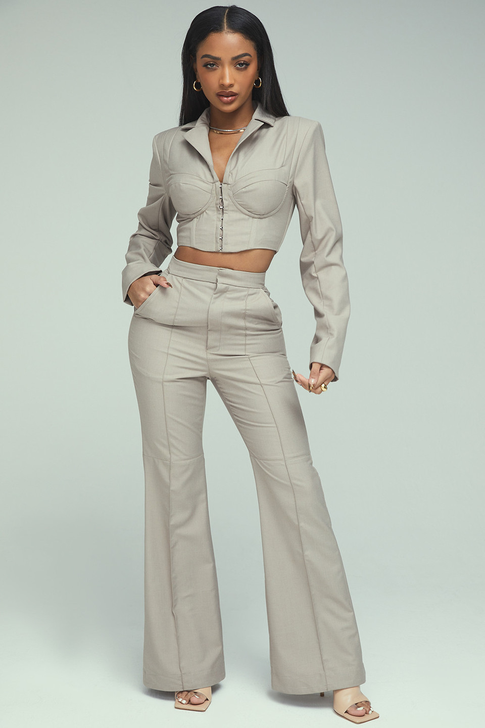 Mix It Up Stone Tailored Wide Leg Trousers