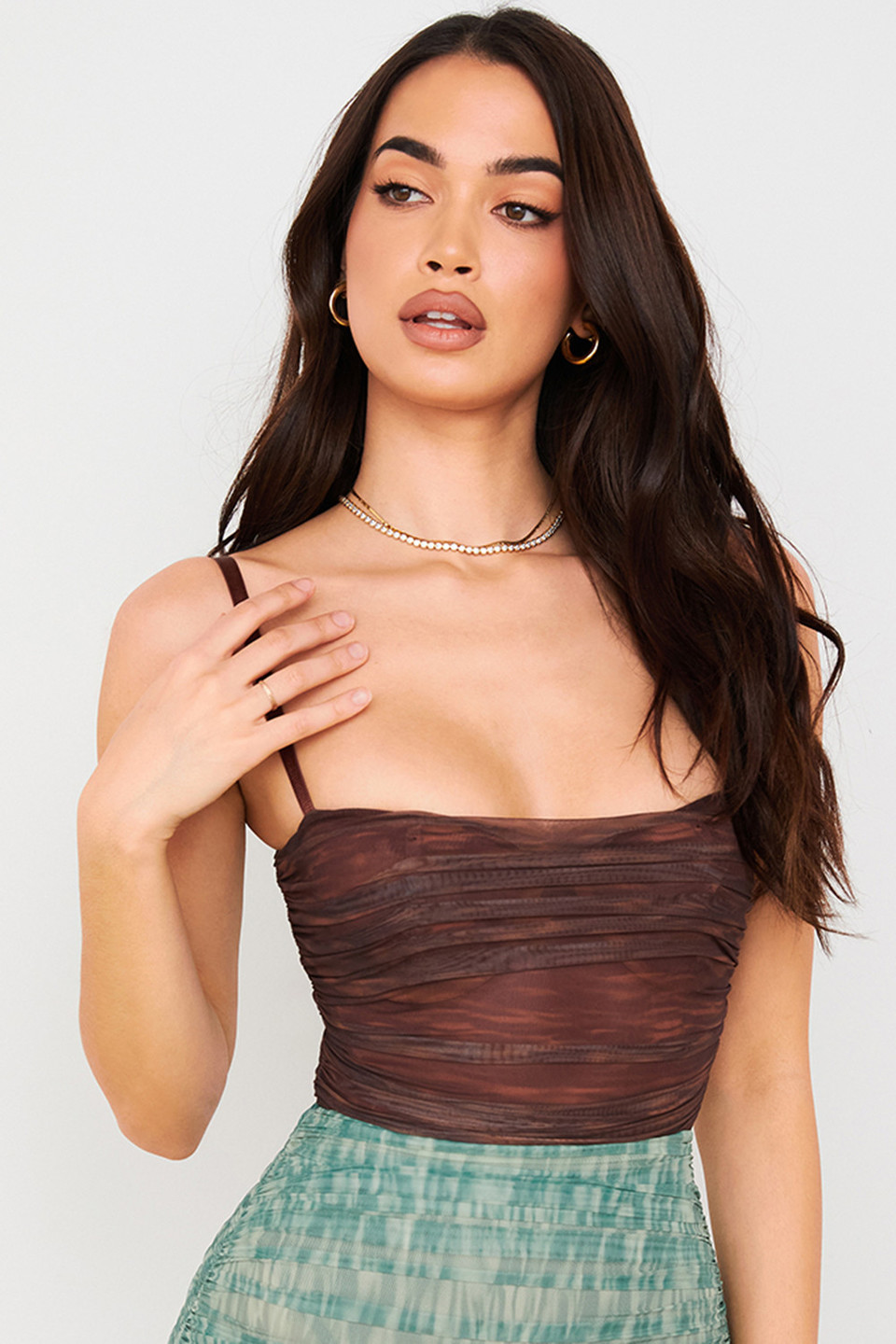 Pearl Chocolate Print Ruched Mesh Bodysuit