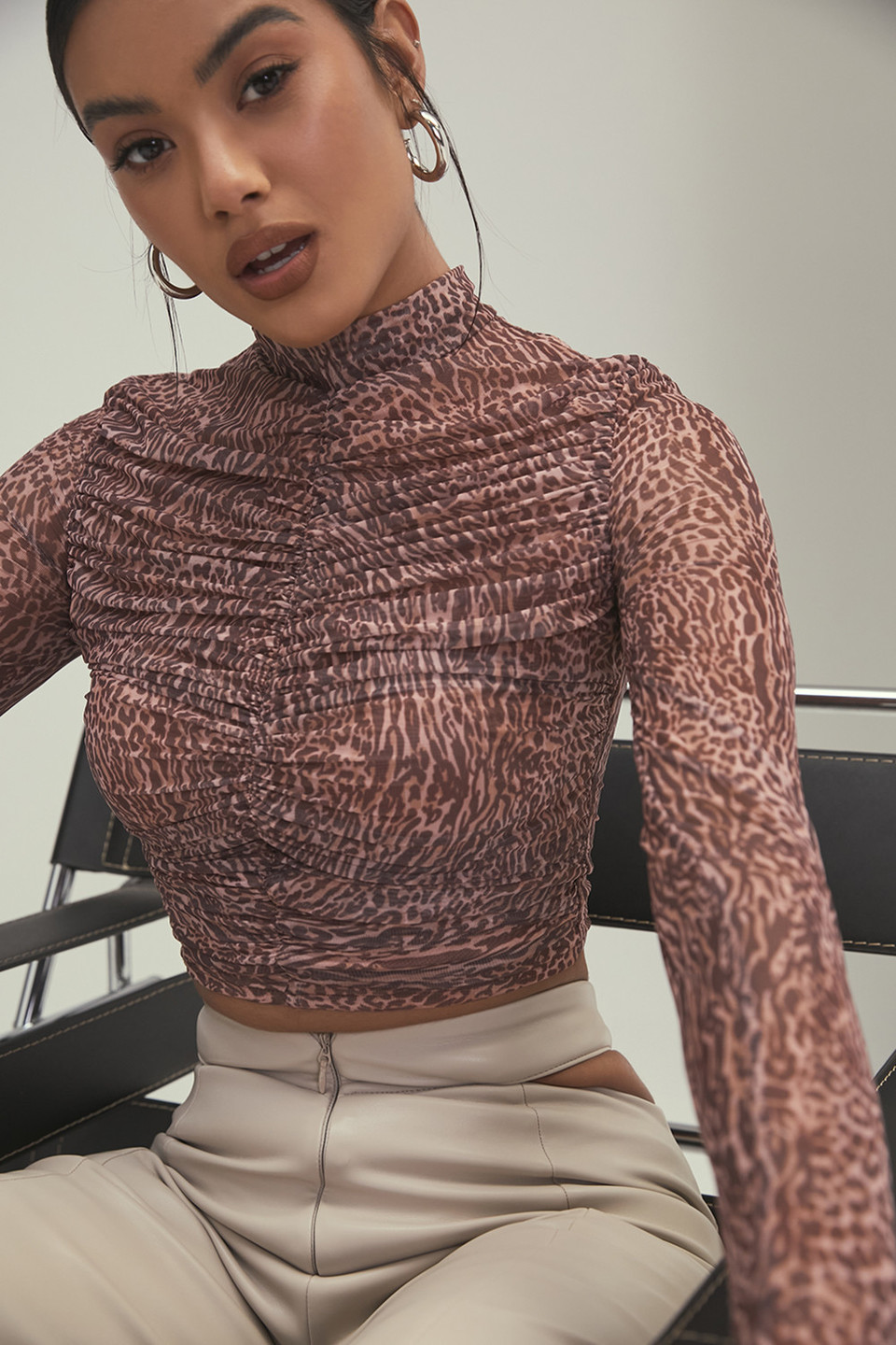 Call of the Wild Animal Print Ruched Mesh Top