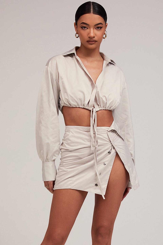 Dip It Low Stone Tech Woven Asymmetric Mini Skirt