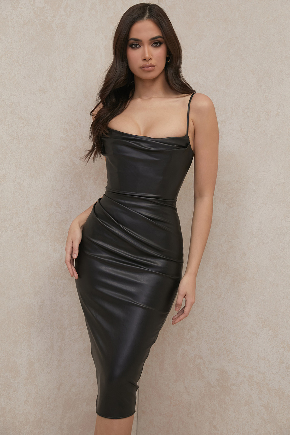 Luanne Black Vegan Leather Corset Midi Dress