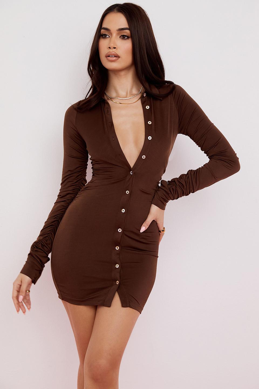 Martinique Chocolate Jersey Mini Shirt Dress