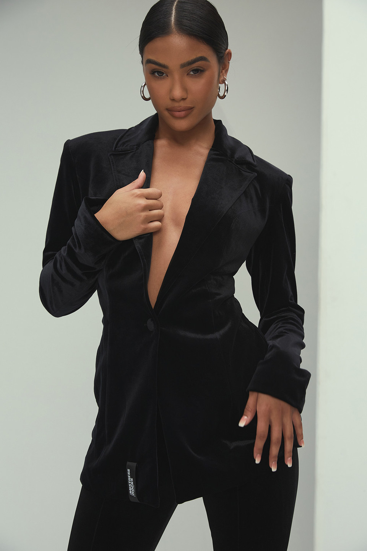 Rebound Black Velvet Oversized Blazer