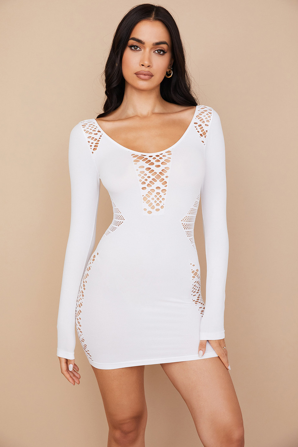 Alana White Stretch Knit Mini Dress