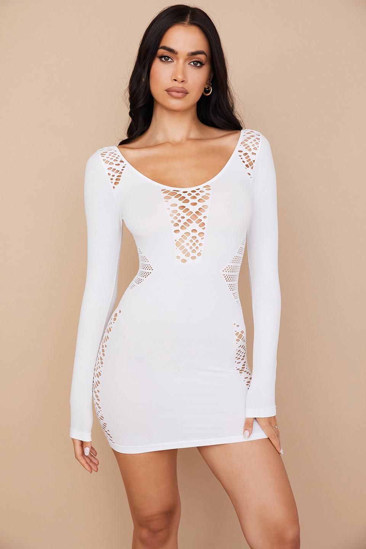 Alana White Stretch Knit Mini Dress