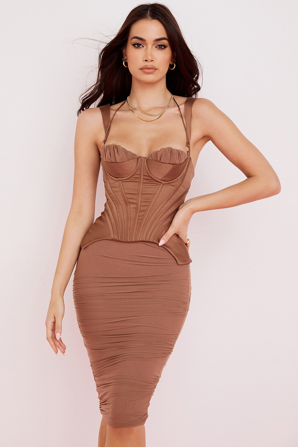 Talya Toffee Corset Midi Dress