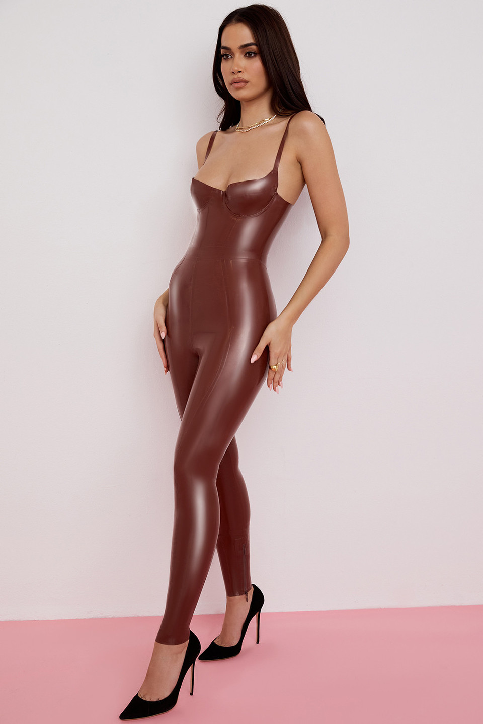 Lia Cocoa Latex High Waist Leggings