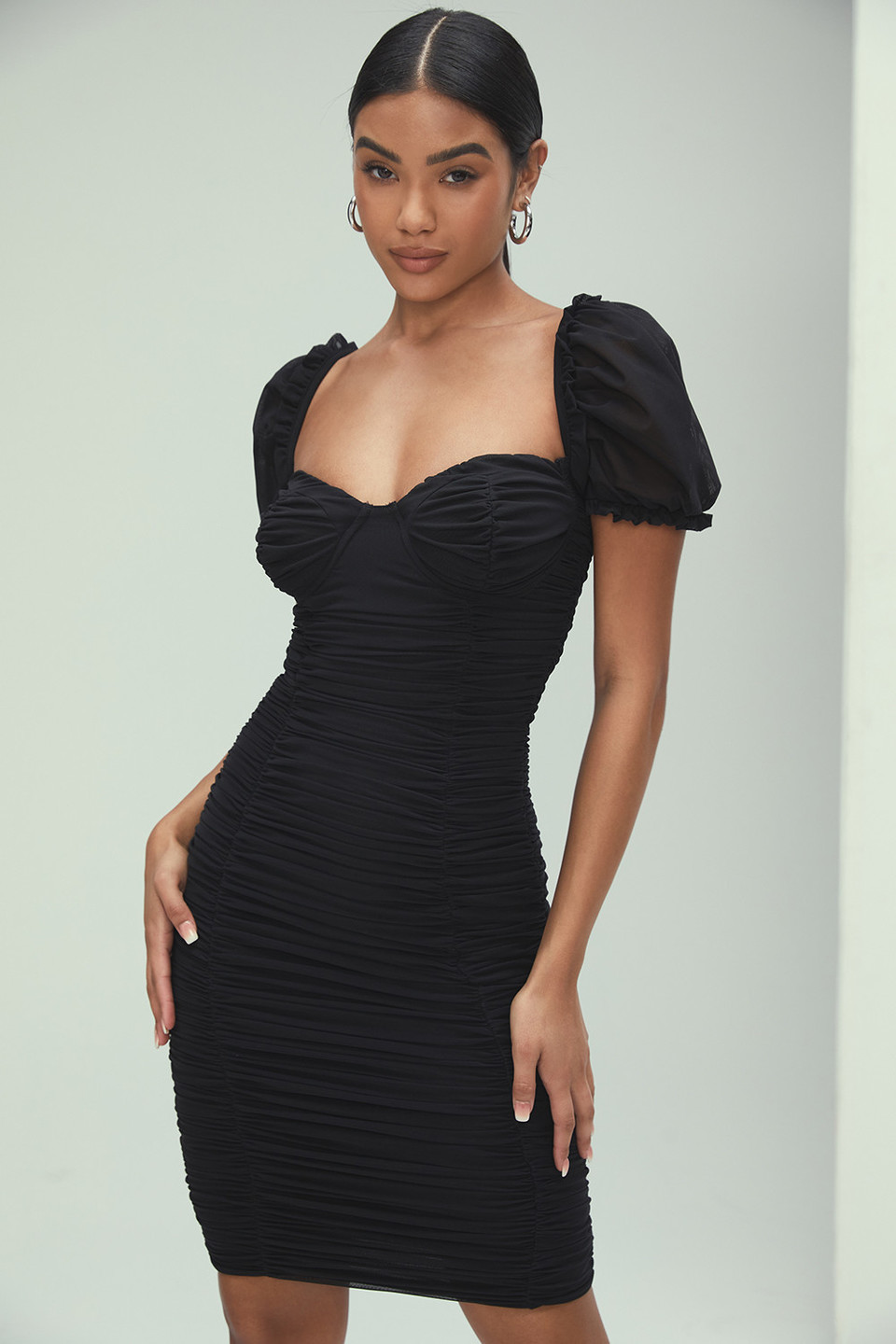 Vixen Black Ruched Mesh Dress