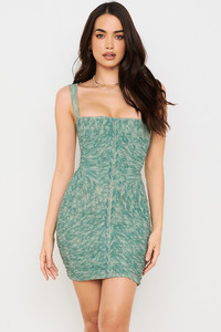Cate Ivy Print Ruched Mesh Mini Dress