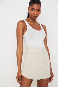 Tayo Beige Linen Gathered Waist Mini Skirt