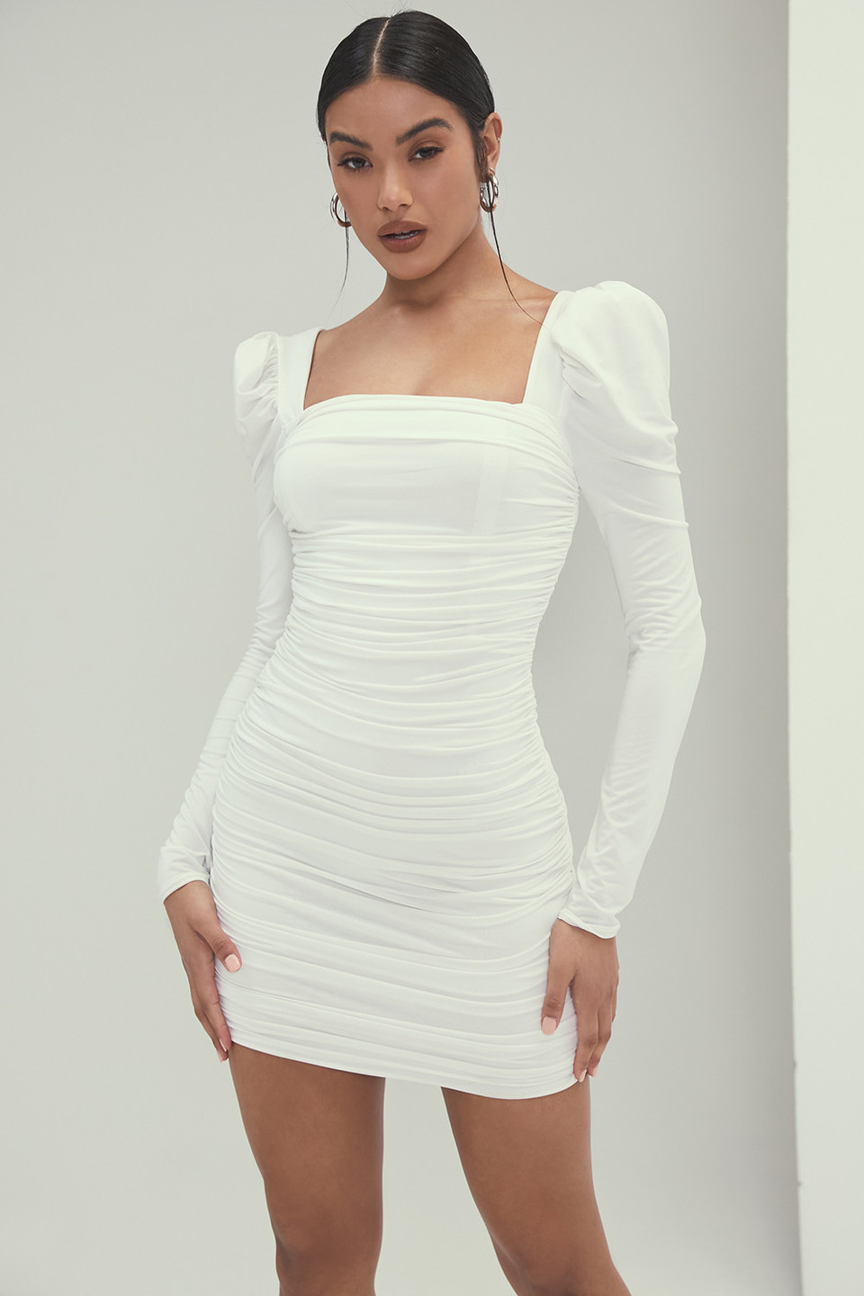 Attraction White Jersey Gathered Mini Dress
