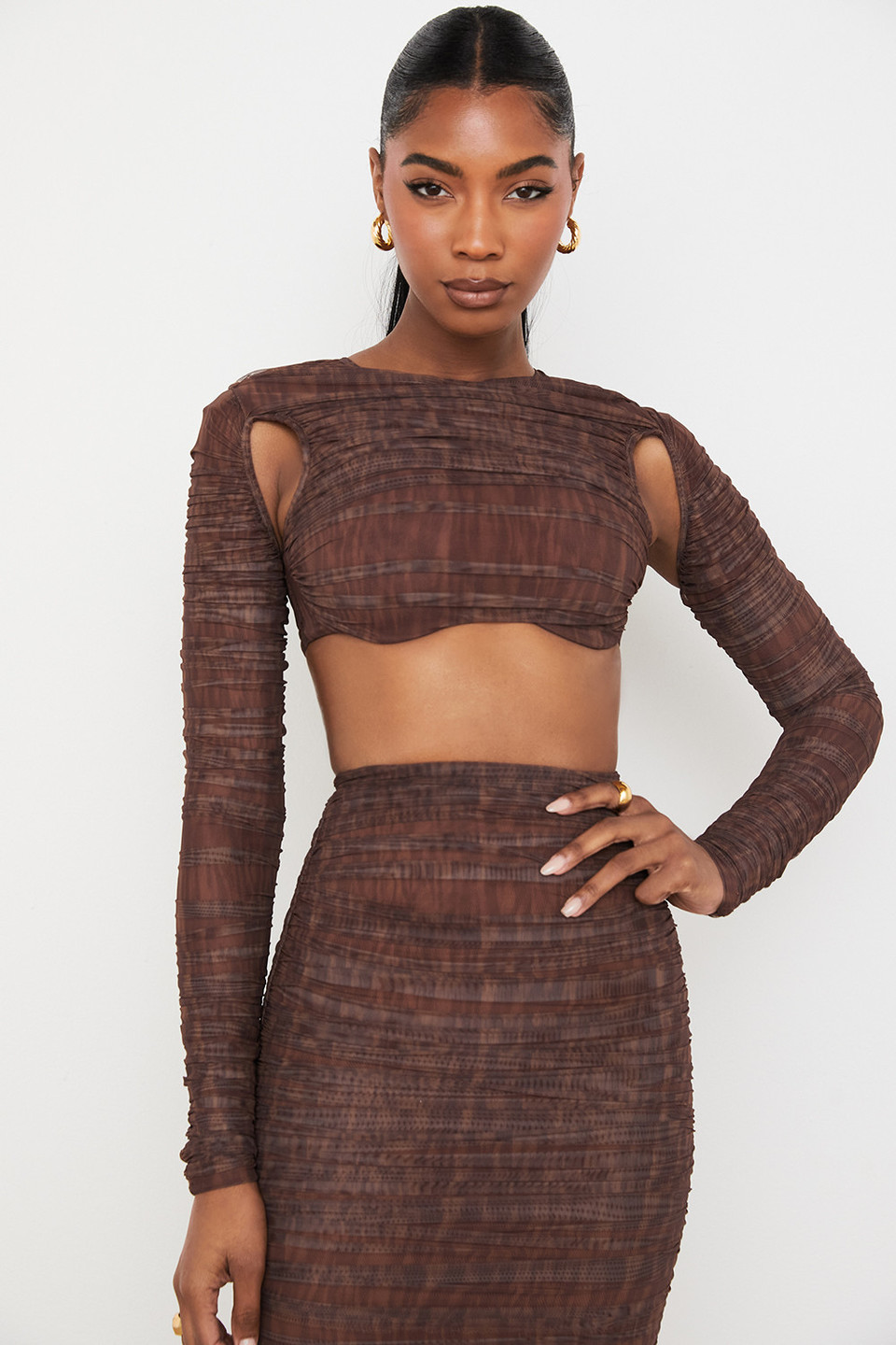 Blythe Chocolate Print Ruched Mesh Cutout Cropped Top