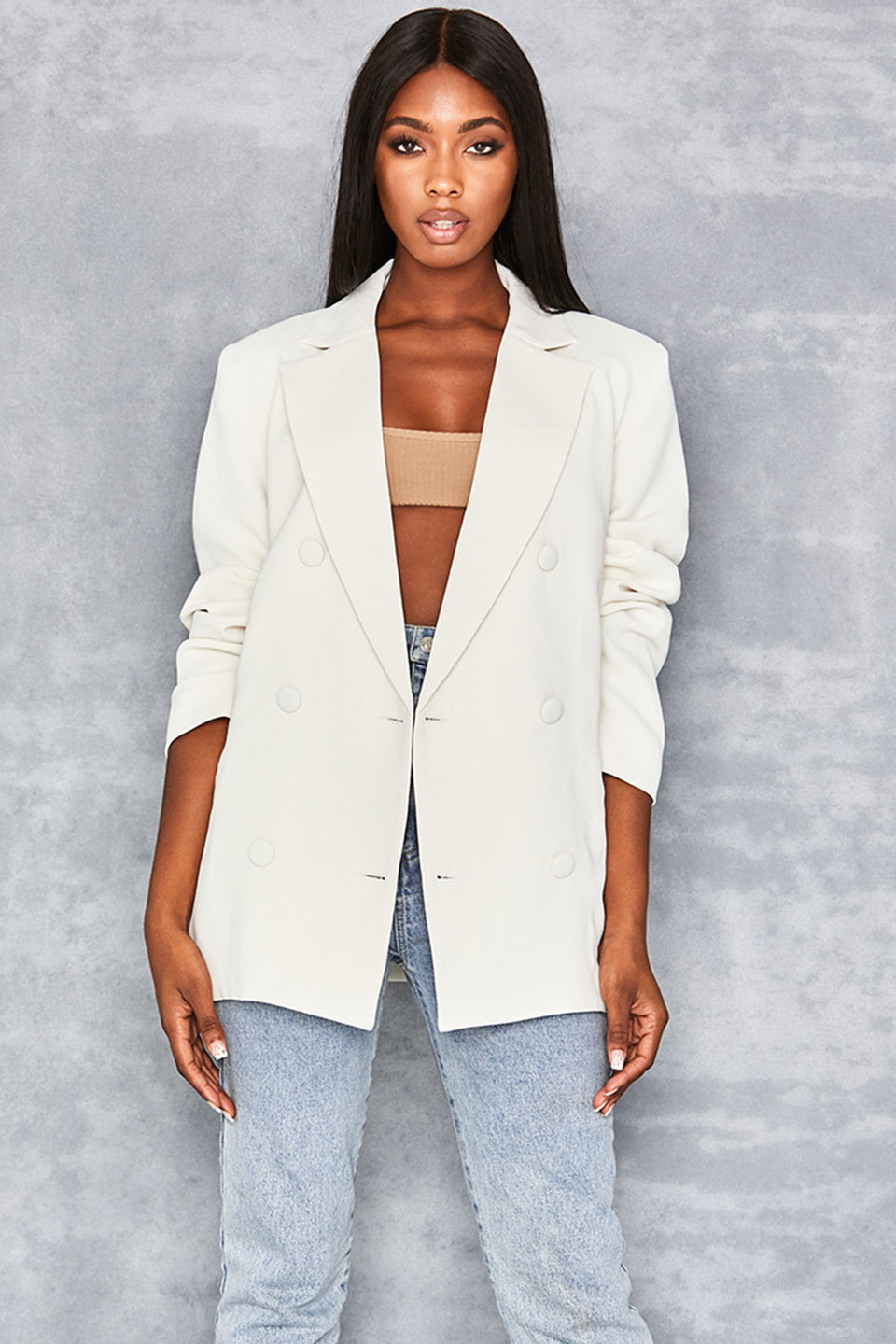 Business As Usual Off White Oversized Blazer