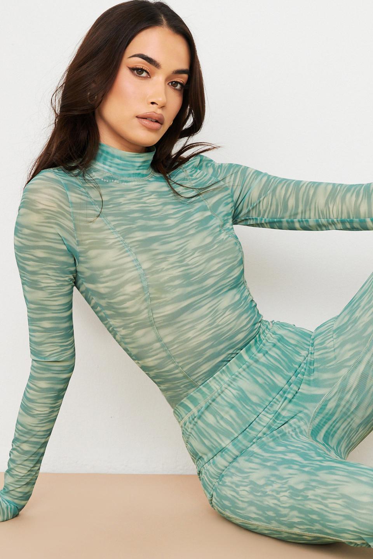Eleanor Ivy Print Mesh Bodysuit