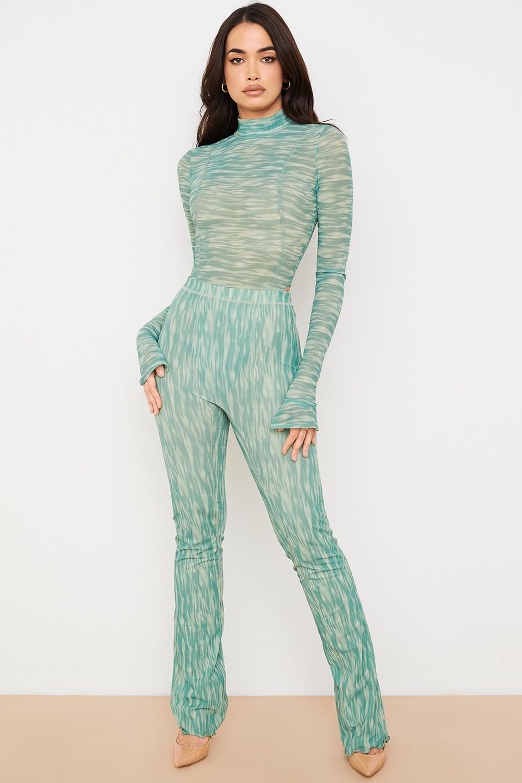 Erin Ivy Print Mesh Flared Trousers