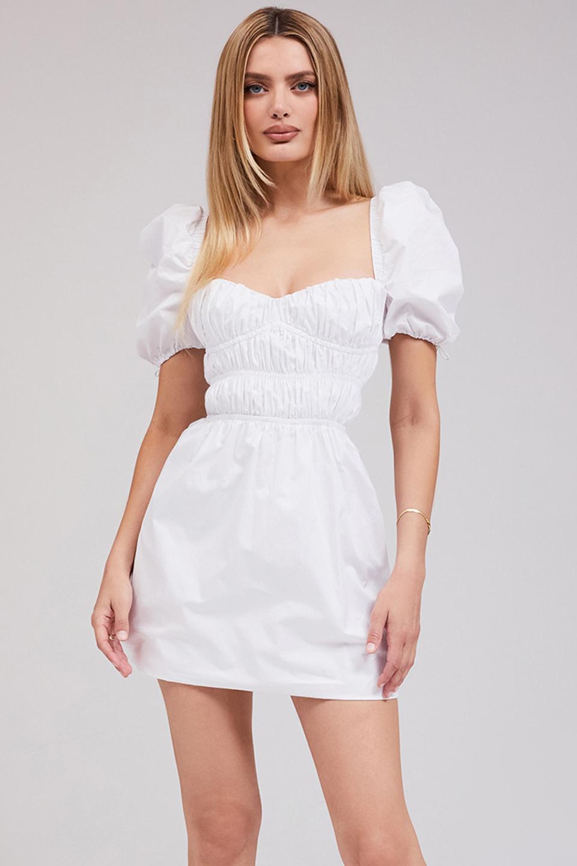 Garden Party White Gathered Mini Dress