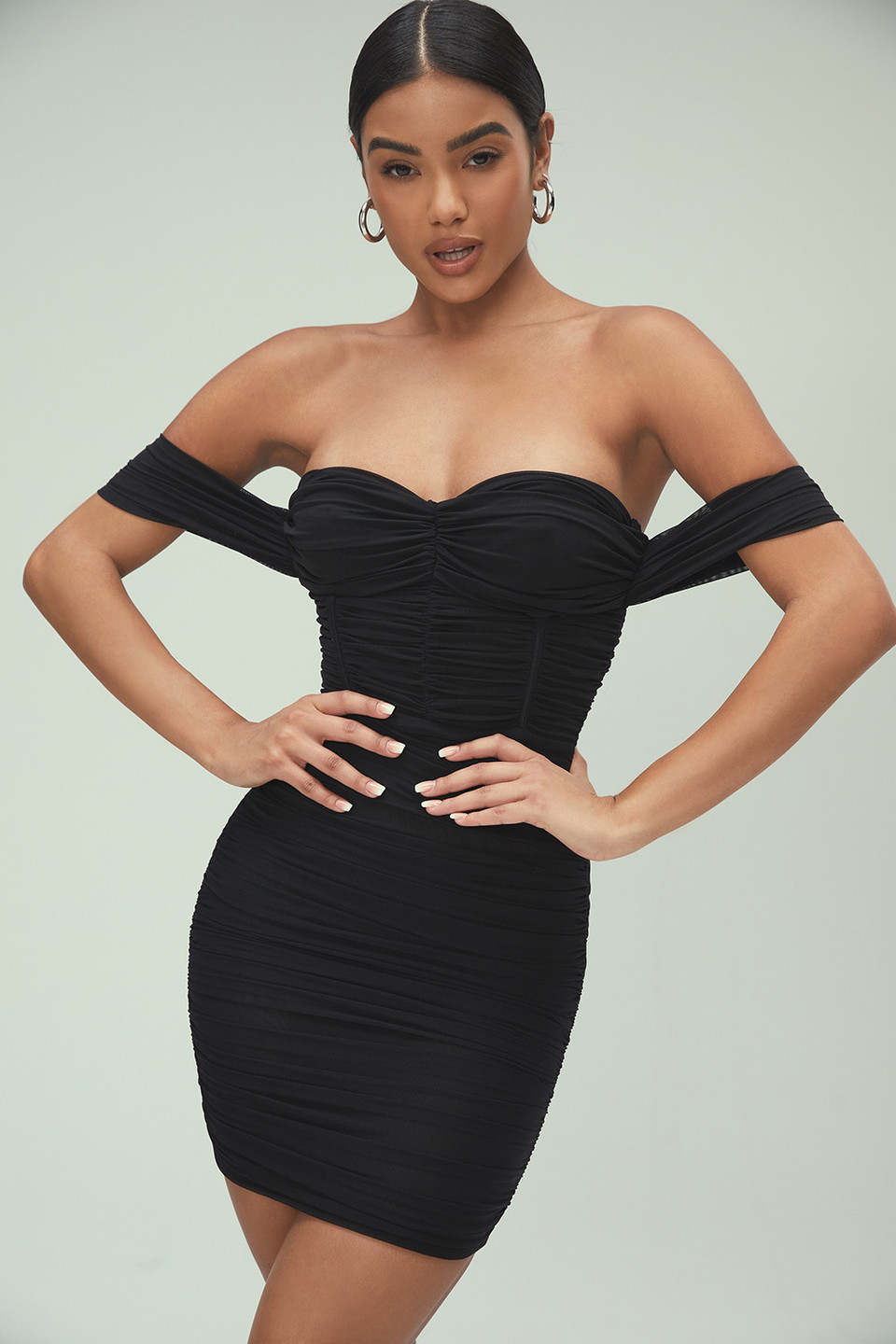 Heritage Black Ruched Mesh Bardot Dress