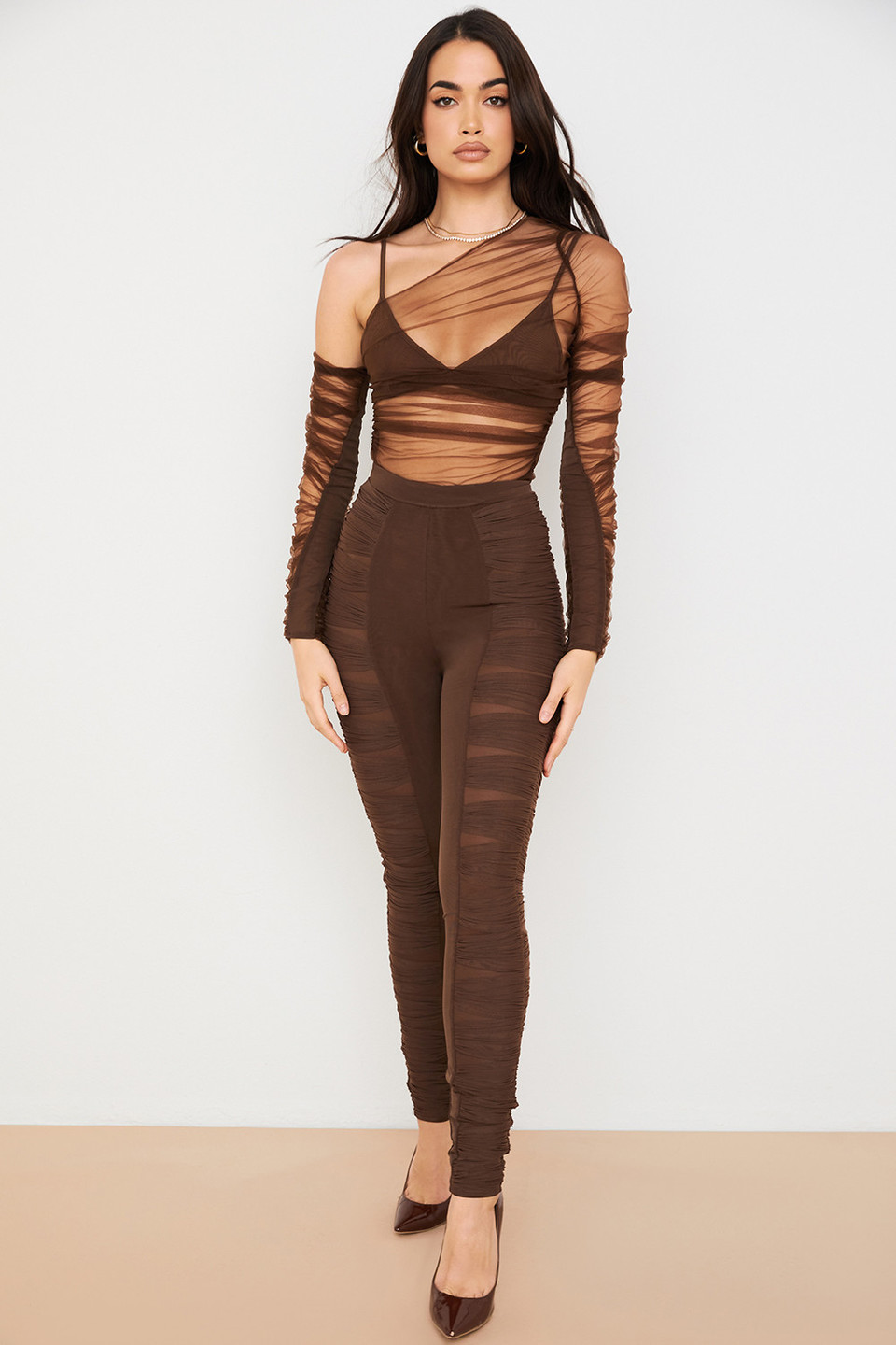Isolde Chocolate Layered Mesh Trousers