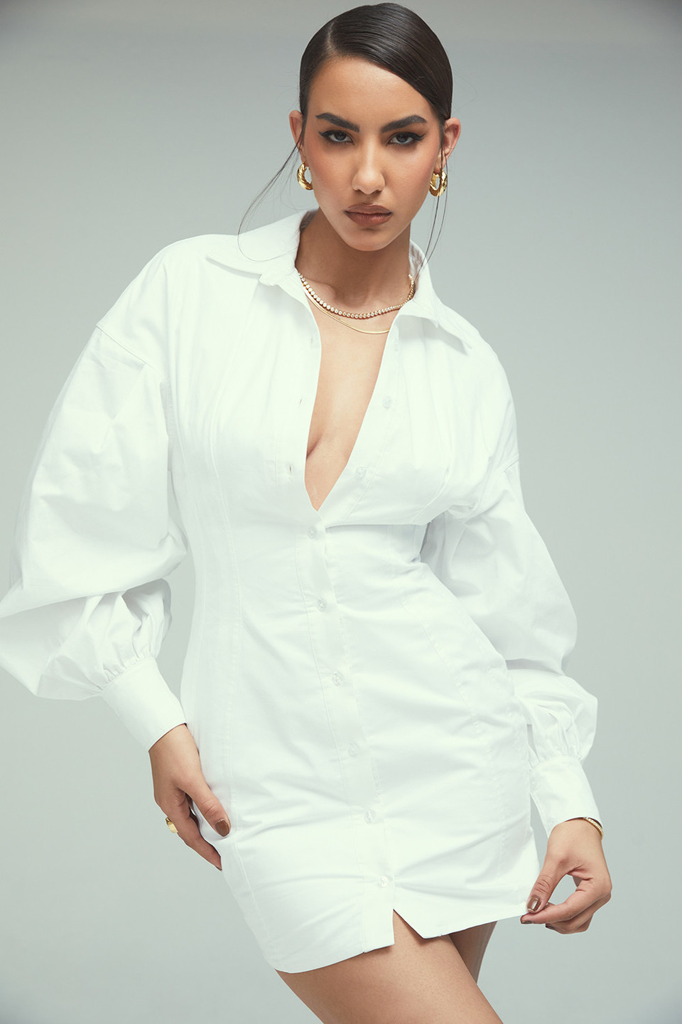 Loyalty White Fitted Shirt Dress