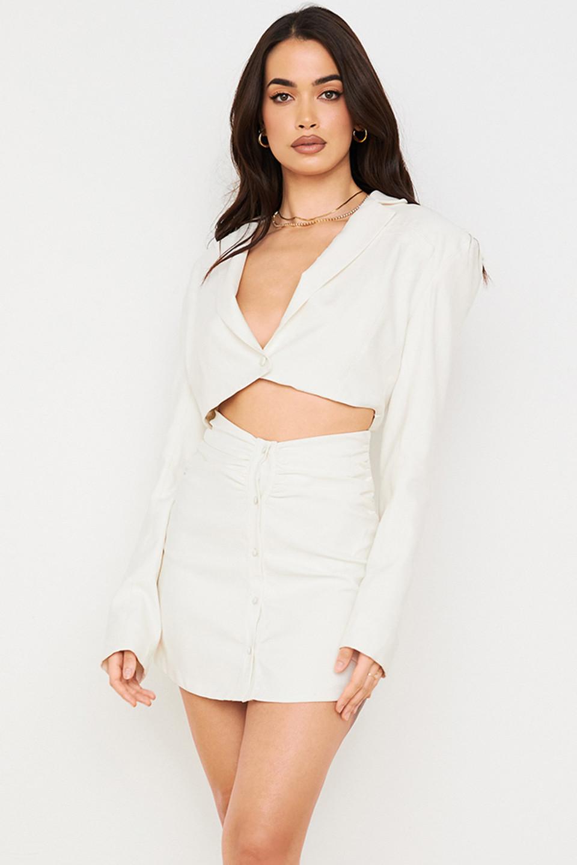 Lucille Ivory Cut Out Shirt Dress