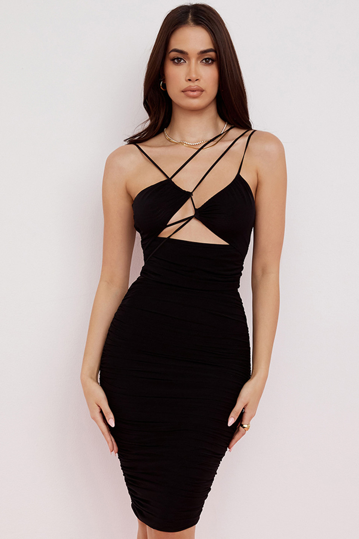 Meena Black Mesh Cutout Midi Dress