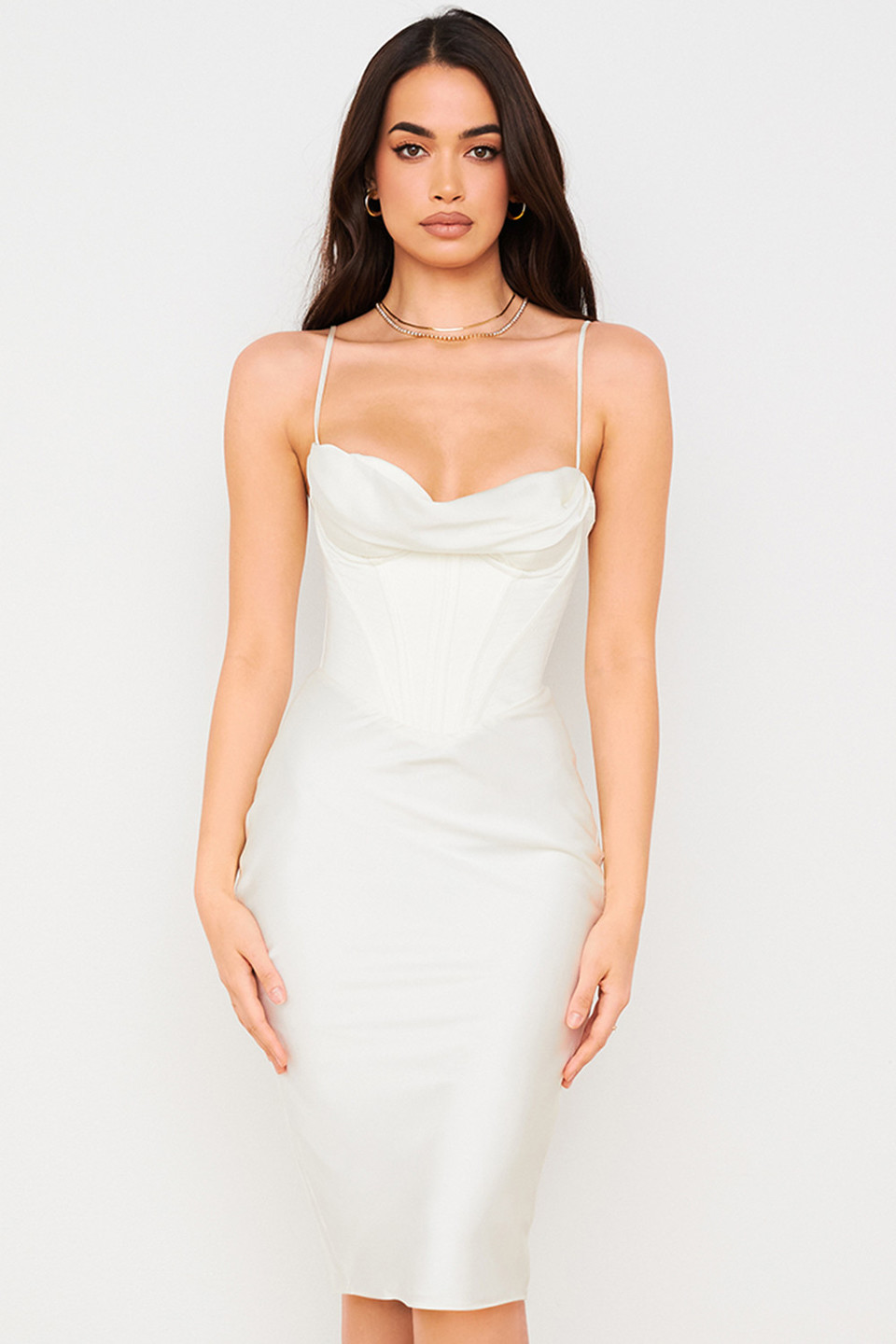 Myrna Ivory Corset Slip Dress