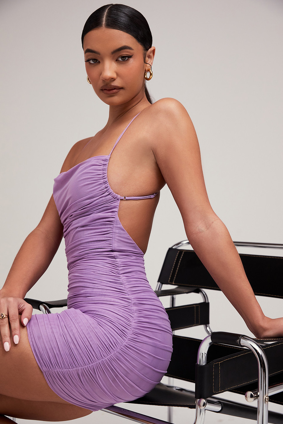 Nightshade Lilac Ruched Mesh Dress