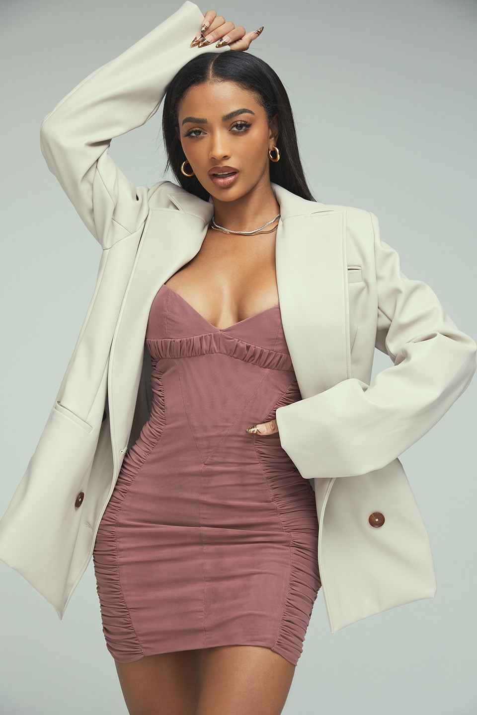 Strictly Business Taupe Double Breasted Blazer