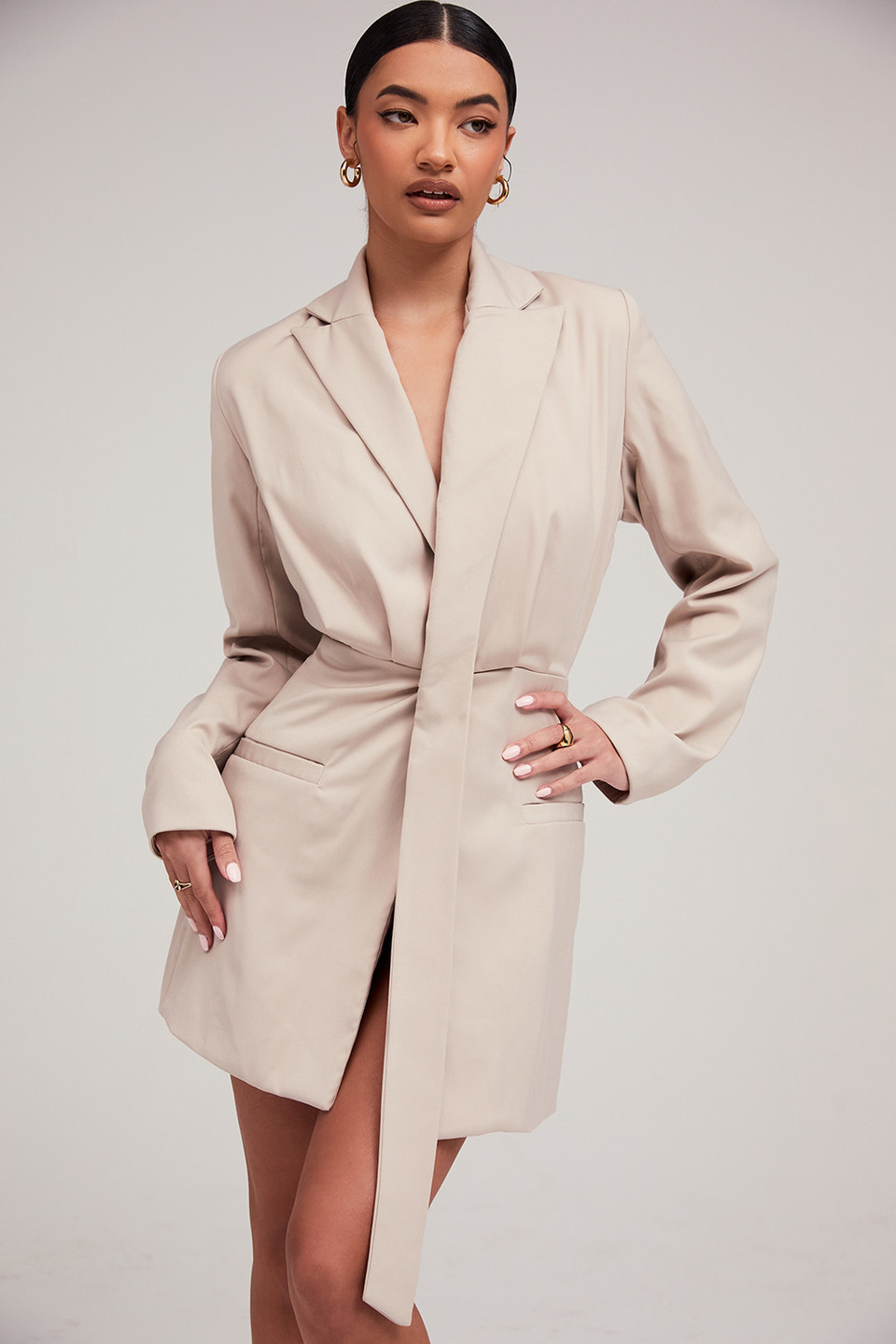Time Out Beige Lapel Wrap Jacket Dress