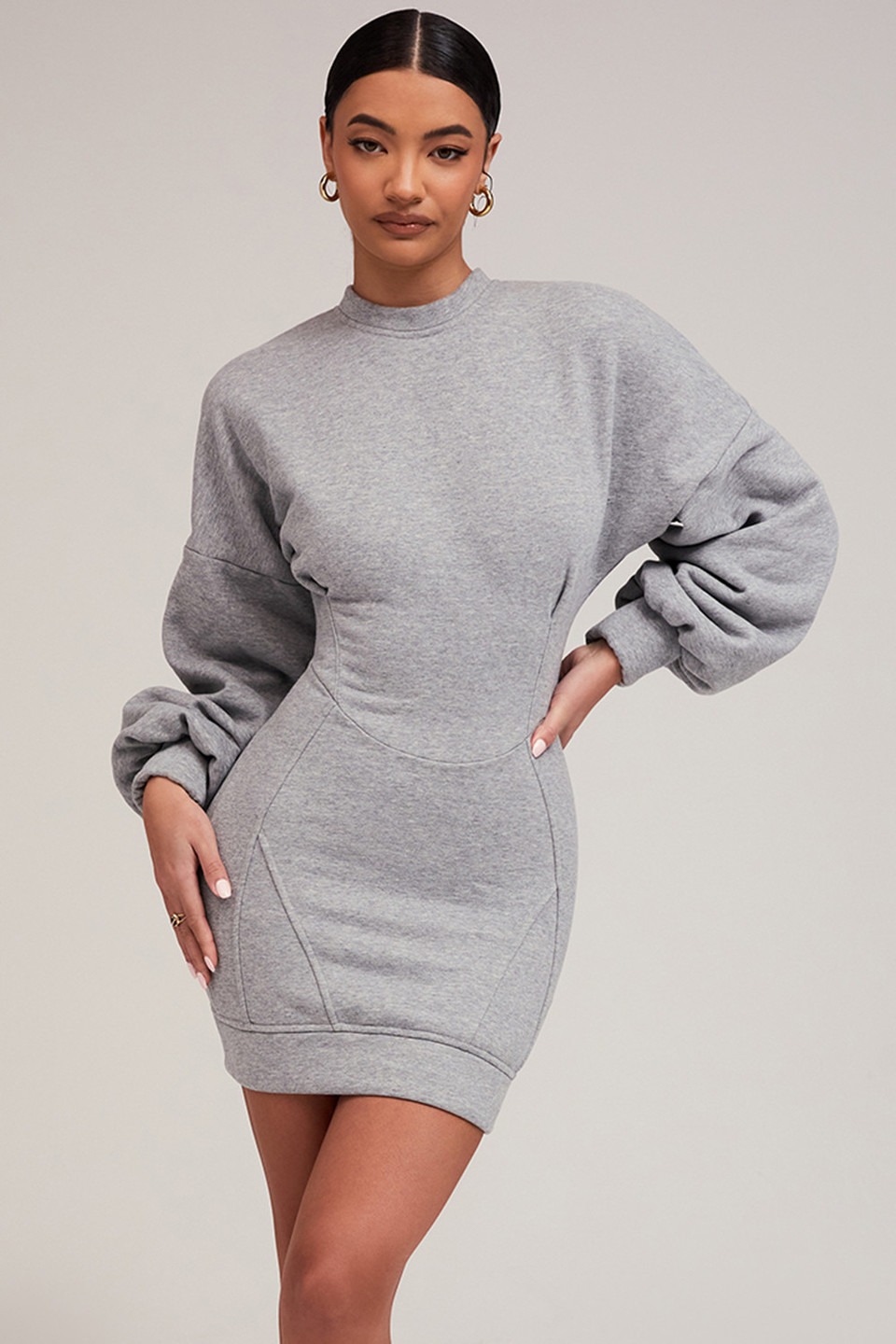 Totally Invested Grey Jumper Dress