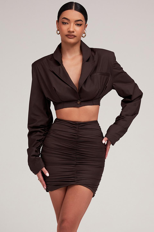 Charming Cocoa Asymmetric Gathered Mini Skirt