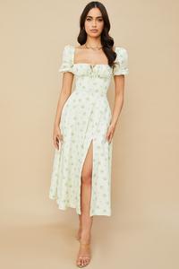 Tallulah Ivory Floral Puff Sleeve Midi Dress