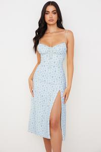 Carina Blue Floral Bustier Midi Dress