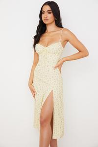 Carina Lemon Floral Bustier Midi Dress