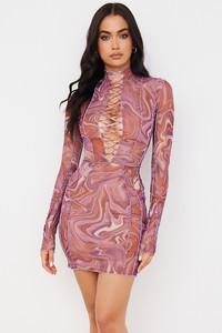 Dylan Purple Printed Mesh Lace Up Mini Dress