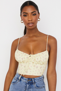 Lilibeth Lemon Ditsy Floral Gathered Bustier Top