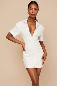 Luisa Beige Open Back Shirt Dress