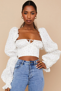 Millicent White Floral Cropped Corset Top