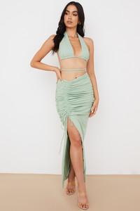 Solitaire Sage Gathered Drawstring Maxi Skirt