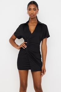 Sophia Black Wrap Shirt Dress