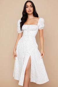 Tallulah White Floral Puff Sleeve Midi Dress