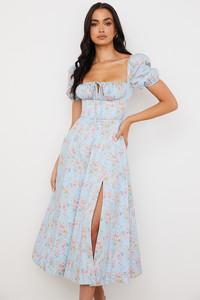Tallulah Blue Vintage Floral Puff Sleeve Midi Dress