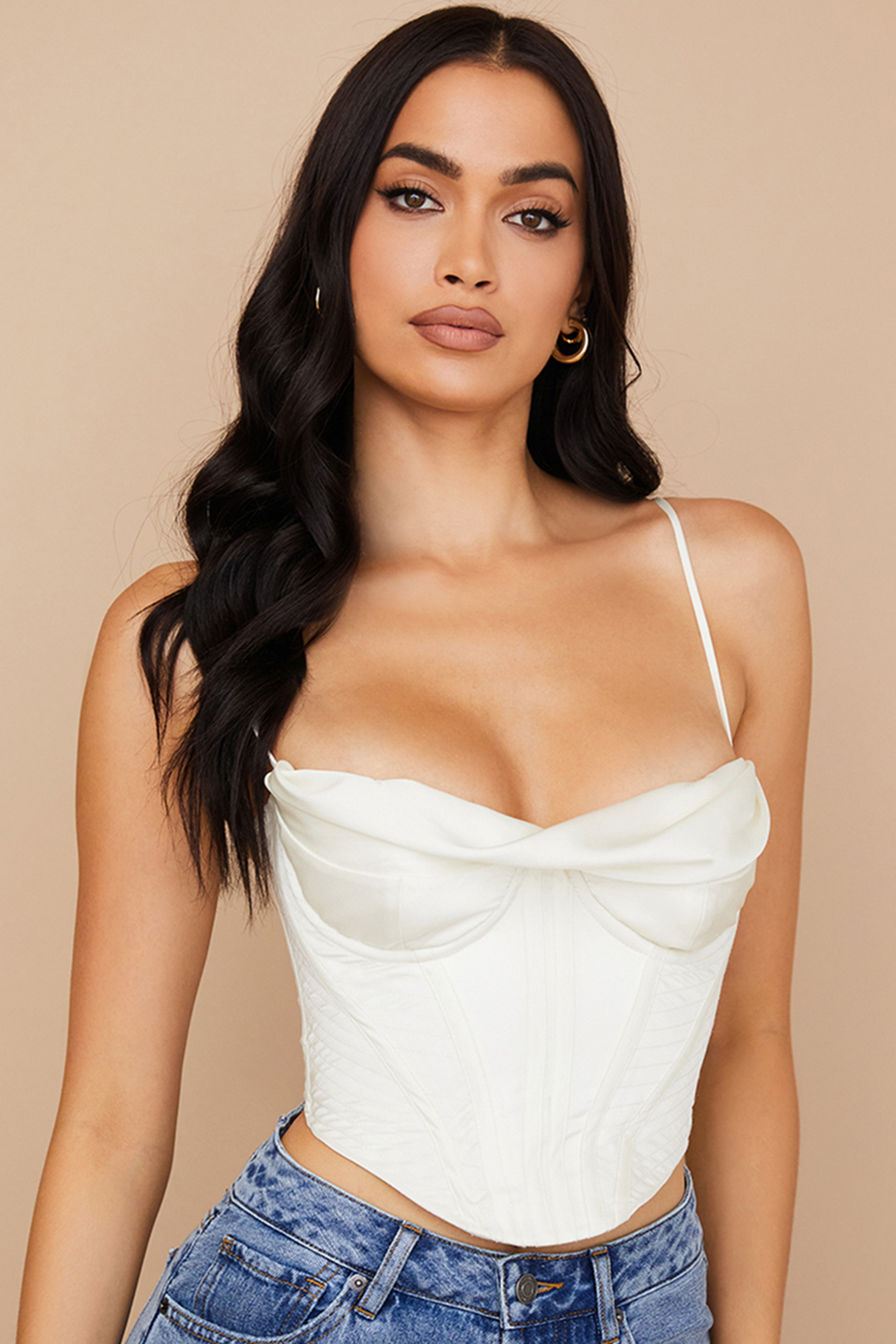 Bea Ivory Satin Draped Corset