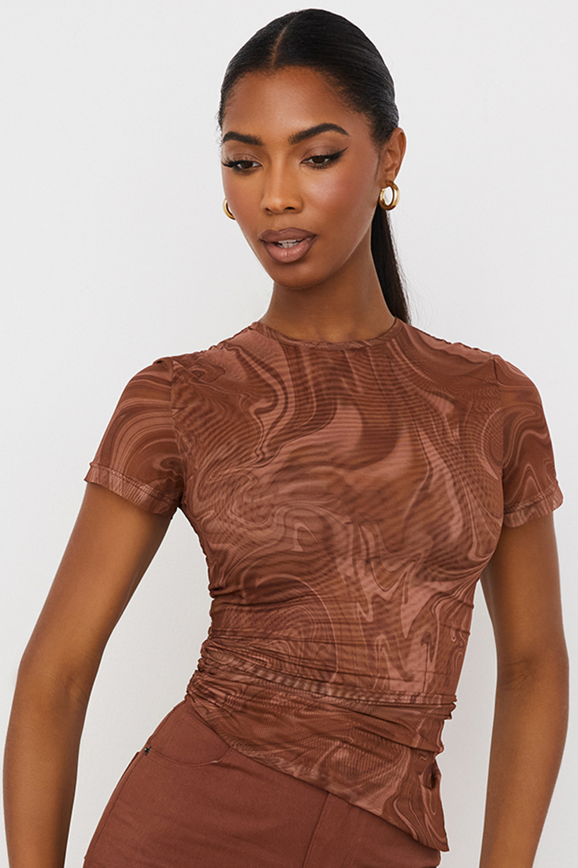Claudie Cocoa Swirl Print Asymmetric T-shirt