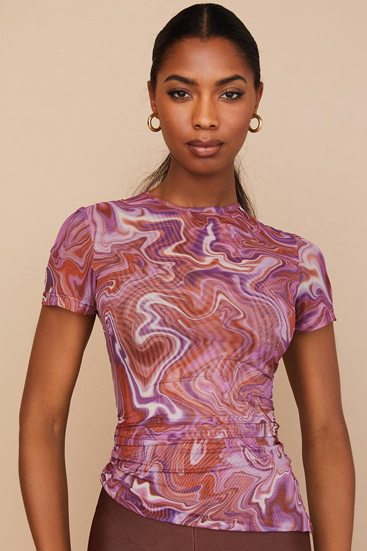 Claudie Purple Swirl Asymmetric T-shirt