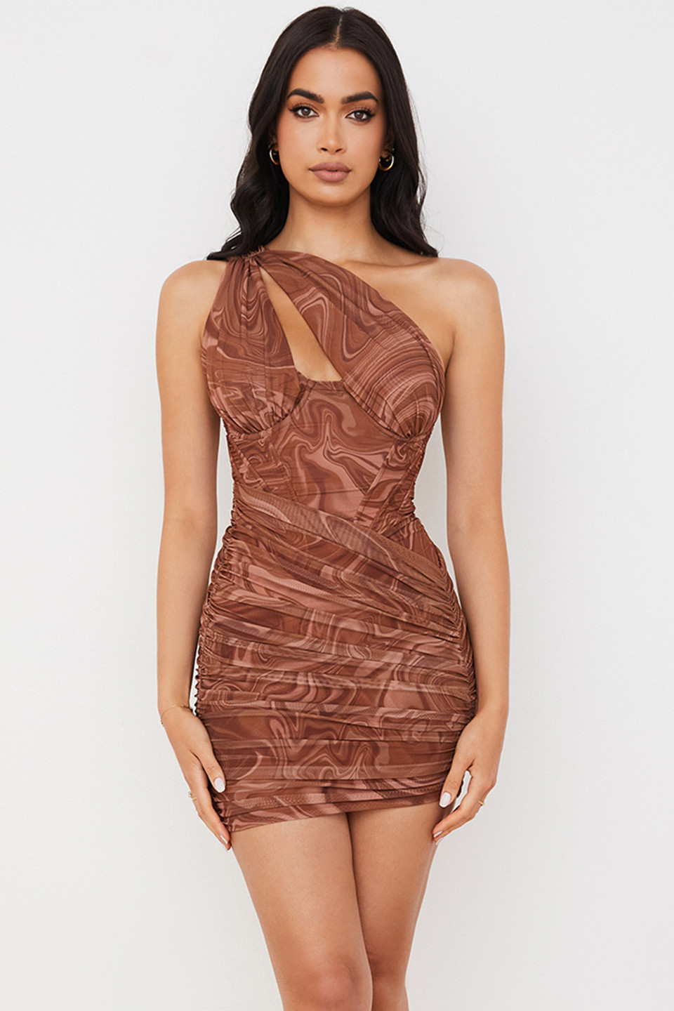 Clementine Swirl Print Cut Out Mini Dress