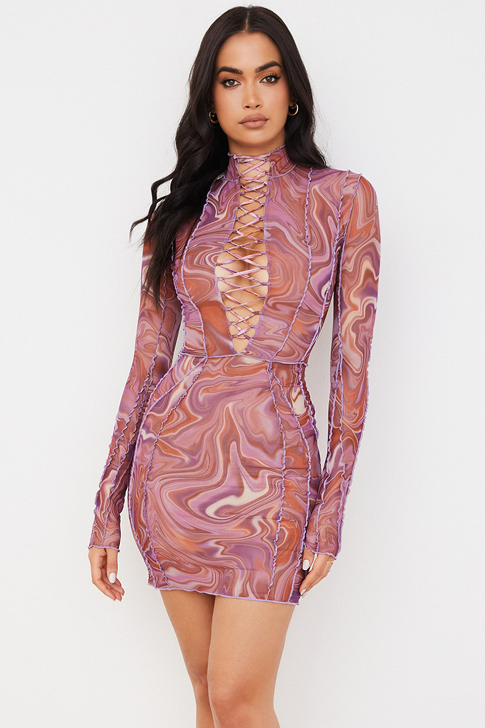 Dylan Purple Printed Mesh Lace Up Mini Dress