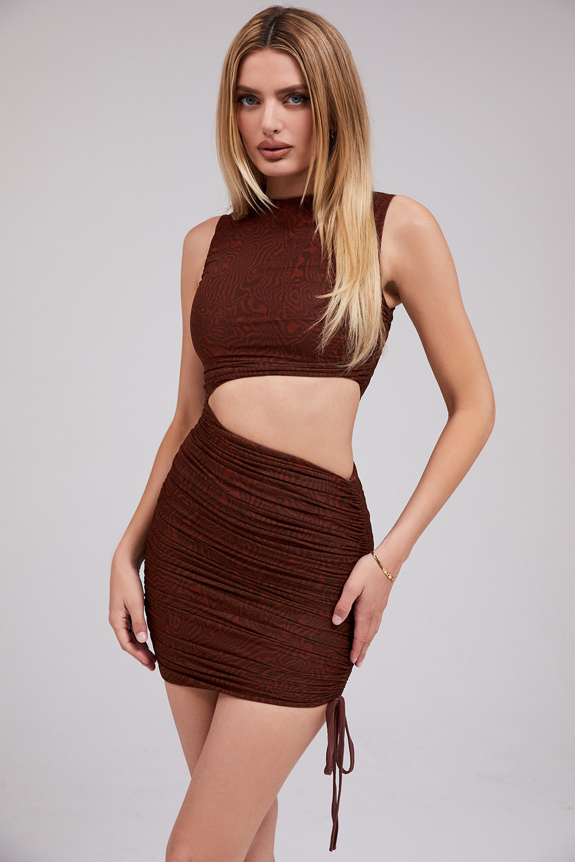 Ego Cocoa Mesh Asymmetric Cutout Mini Dress