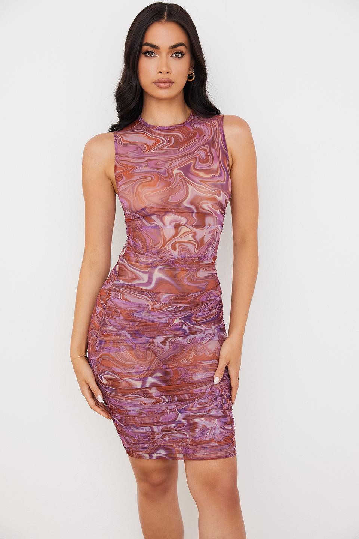 Elodie Purple Swirl Gathered Beach Dress